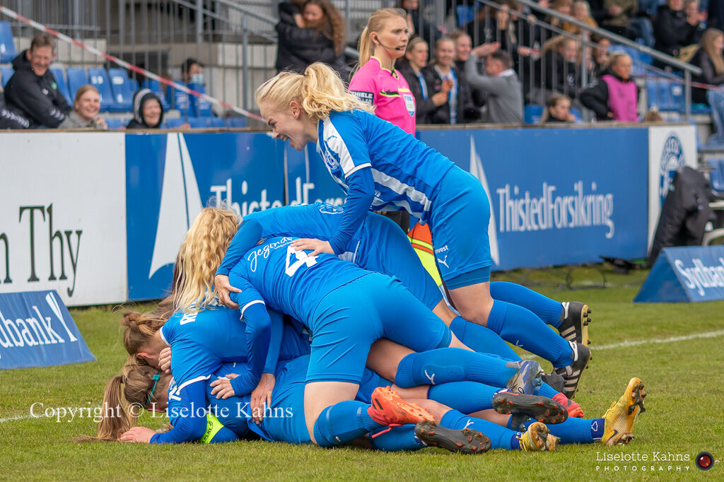 Celebration of Malene Sorensen's (#15 FC Thy-Thisted Q) goal to 2-1 in the Women's Cup Final, FC Thy-Thisted Q vs. Brondby IF at Lerpytter stadium in Thisted, Denmark