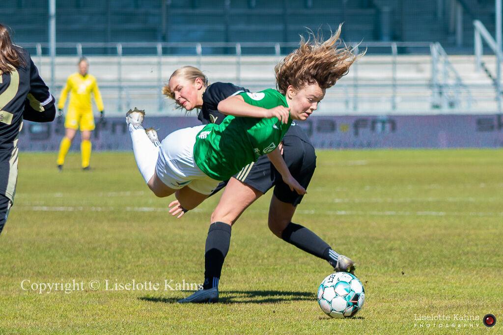 """Rebekka Frost Frederiksen is fouled in the """"Gjensidige Kvindeliga"""" match between Fortuna Hjorring and KoldingQ"""