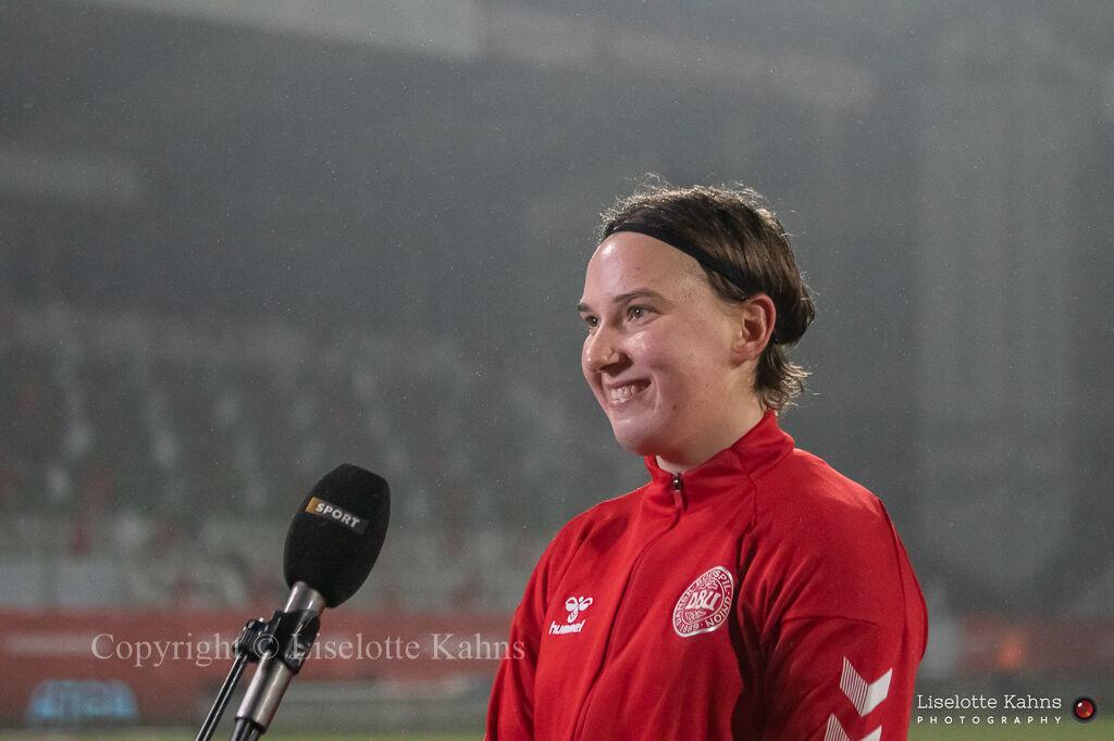 WMS NT, Denmark vs. Italy. Viborg 2020. Lene Christensen (POTM) getting interviewed