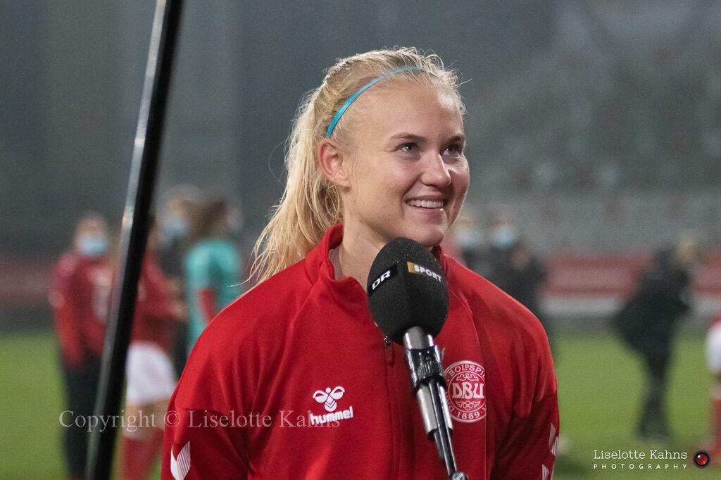 WMS NT, Denmark vs. Italy. Viborg 2020. Pernille Harder getting interviewed