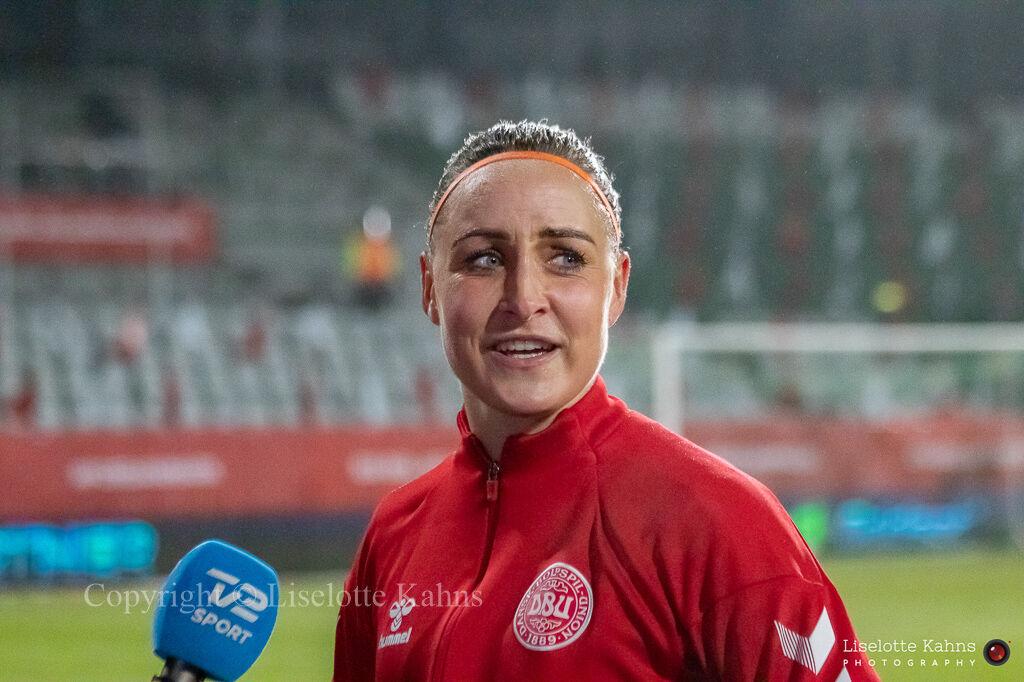 WMS NT, Denmark vs. Italy. Viborg 2020. Sanne Troelsgaard getting interviewed