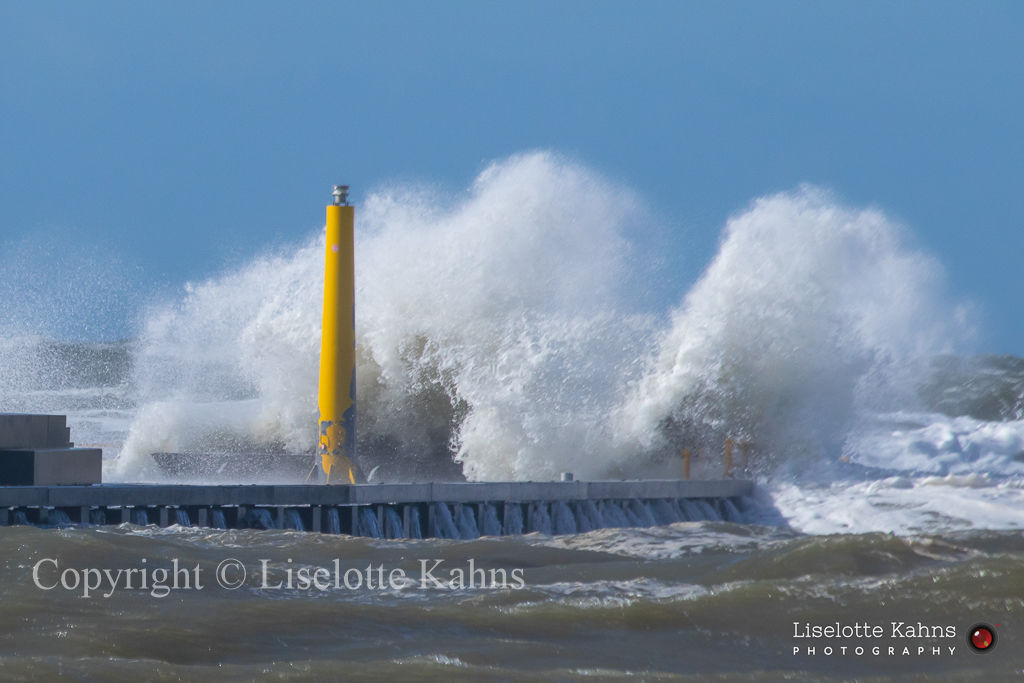 Spring gale force transforms into wave energy at the pier in Løkken, Denmark