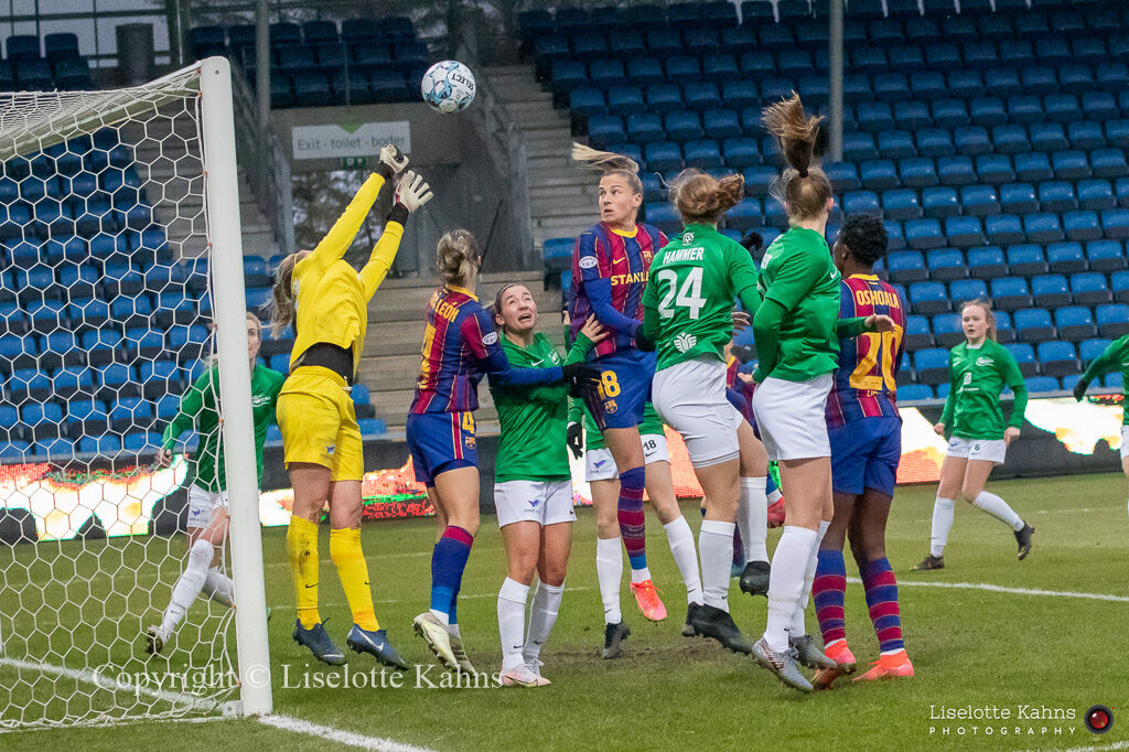 Action in front of the Fortuna Hjorring goal and Ana Crnogorcevic (#18 FC Barcelona) heads for goal in the UEFA Womens Champions League, round of 16 second-leg match between Fortuna Hjorring and FC Barcelona at Hjorring stadium in Hjorring, Denmark