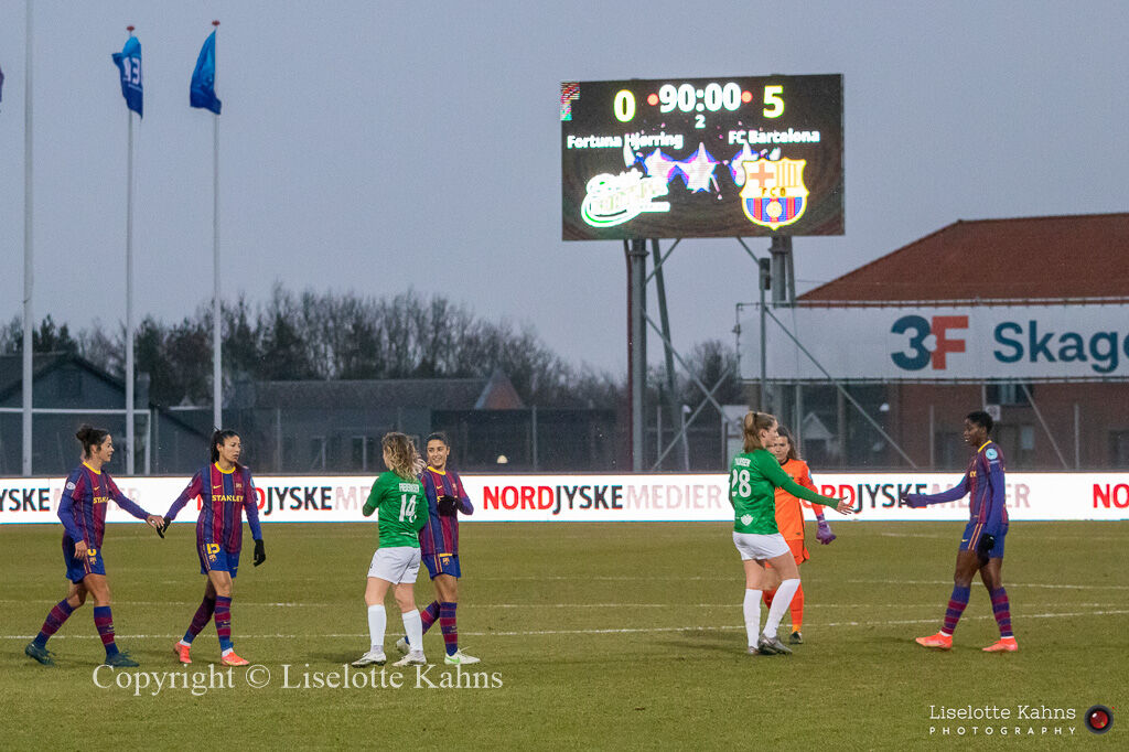 End result 5-0 to FC Barcelona in the UEFA Womens Champions League, round of 16 second-leg match between Fortuna Hjorring and FC Barcelona at Hjorring stadium in Hjorring, Denmark