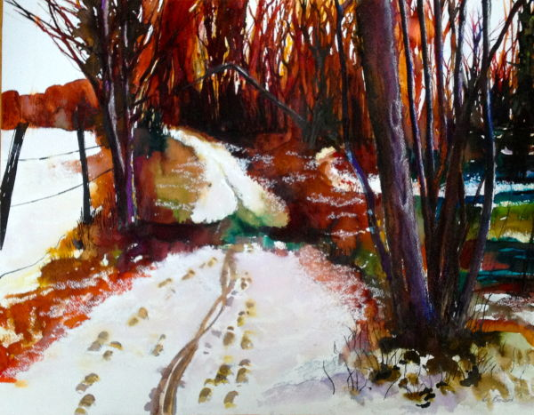Cycle tracks in the snow - SOLD