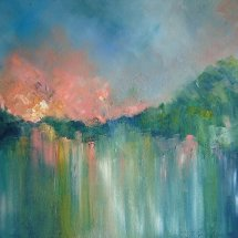 Evening River (oil on canvas, framed, 50x100 cm) SOLD