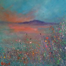 Red Sky (acrylic on canvas, 30x30 cm) At Giles Gallery, Pontyclun