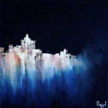 Village Moonlight (oil on canvas, 30x30 cm)