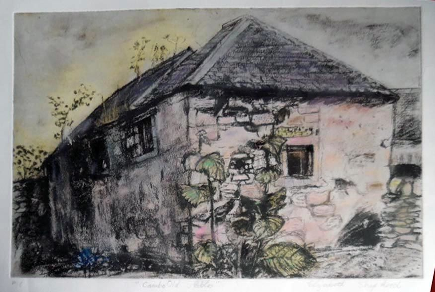 Cambo Old Stables etching plus pastel 60 x 45 cms £340