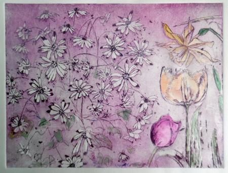 Dancing Daisies VE etching on copper with water colour 36 x 29 cms £300