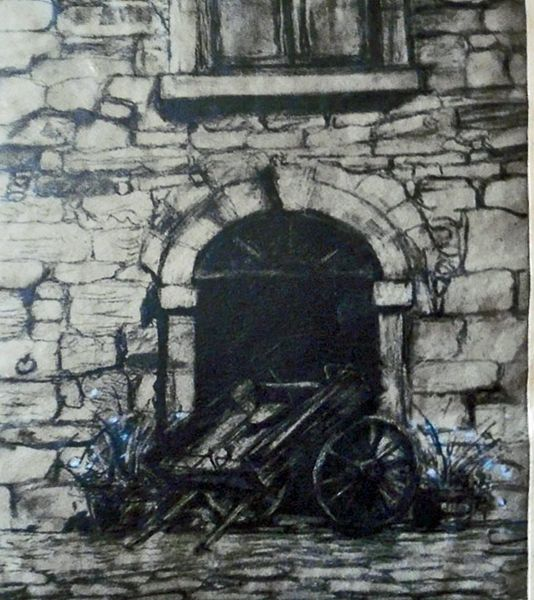 Old Stables at Cambo with Cart etching £160