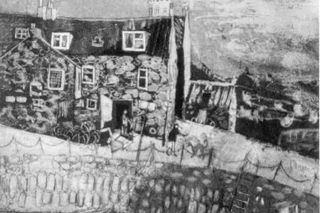 crail harbour etching 23 x 30 cms £80