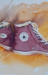 Converse Chuck Taylor Hightops, Daniel Smith Watercolours, Saunders Waterford paper