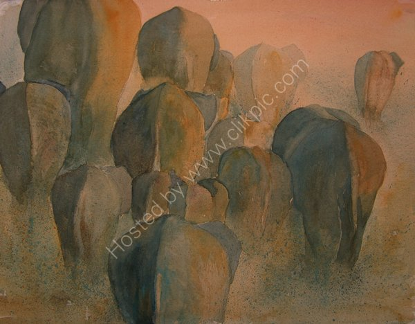 The Bums Rush Shortlisted for the David Shepherd Wildlife Artist of the Year 2011 - SOLD