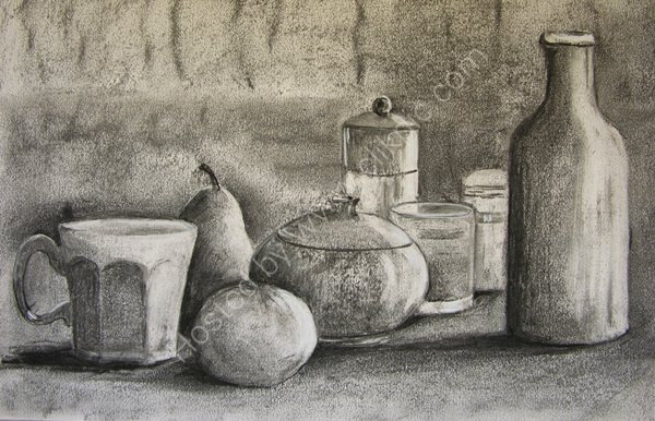 Bottle, Bowls and Fruit