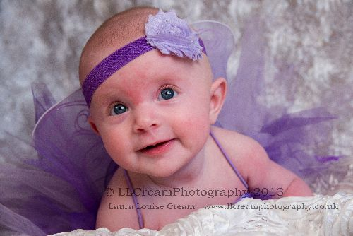 Beautiful Emily Rose - adorable in the purple Tutu & one of the studios many headbands!
