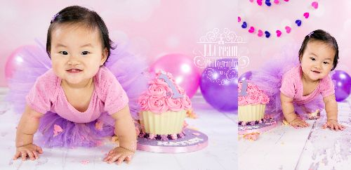 Purple & pink looks beautiful for this cake smash!