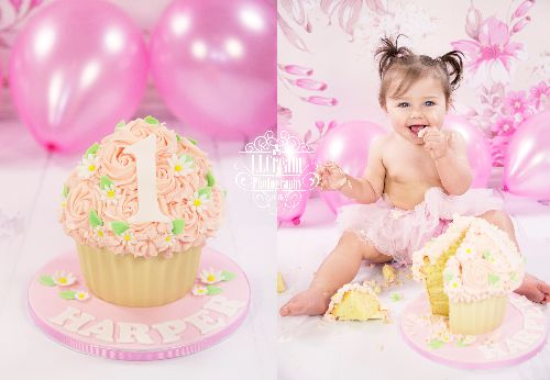 pink with green touches - giant cupcake for Harper's first birthday cake smash!
