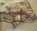 Dried Roses and Avocado Stones on bag