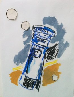 Leaning Postbox Blue