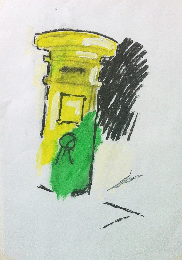 Green and Yellow Postbox