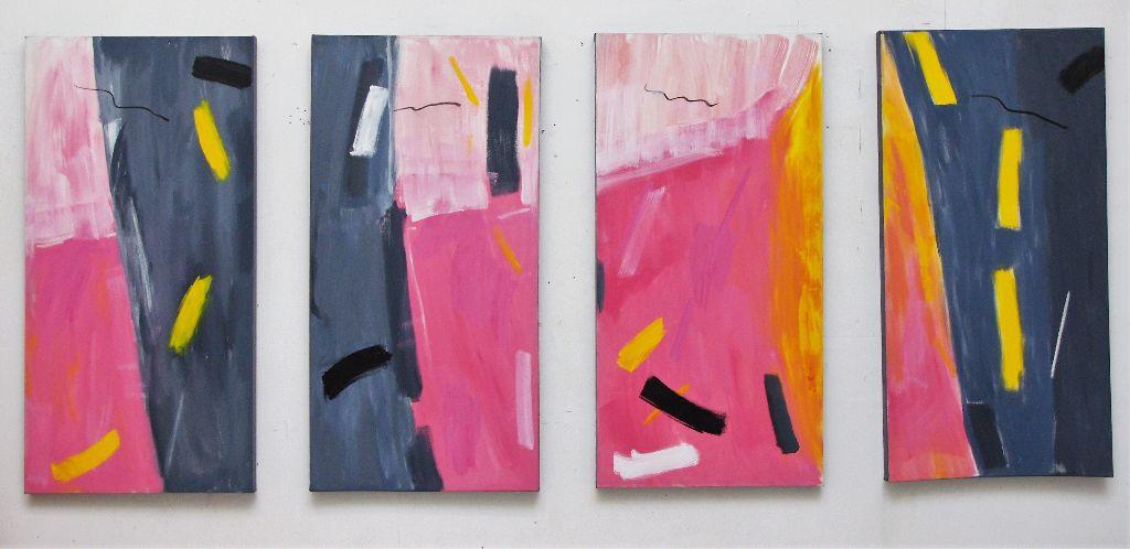 "4 Pink Parts (3'4"" x 1'8"" each, 100 x 50 cm each)"