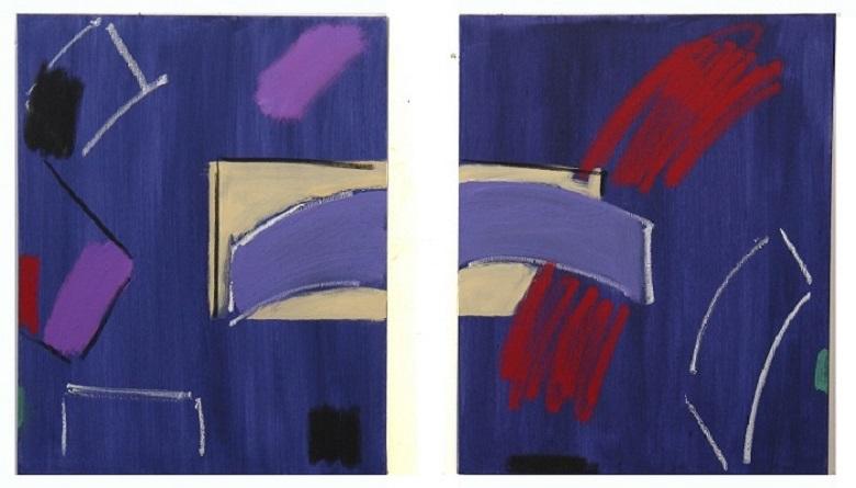 "'Dark Mauve Diptych' (20"" x 16"" / 51 x 41 cm each)"