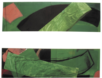 """Green Painting with a Gap in the Middle (2'9"""" x 9'2"""" each hinged / 84 x 280 cm each)"""