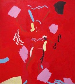"Red Gaga ( 6' x 5'6"" / 183 x 167 cm )"