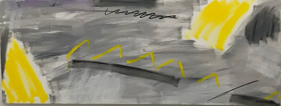 The Bright Side Of Life (51 x 132 cm, 1'8 x 4'4, oil,charcoal on canvas)