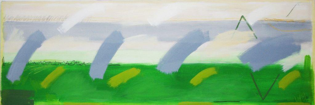 """Green Field (2' 2"""" x 6'6"""" /  66 x 198 cm)"""