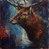 Red Stag painting by louise barrett artist
