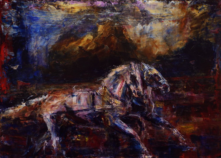 the grey chariot horses from book of zechariah by louise barrett artist