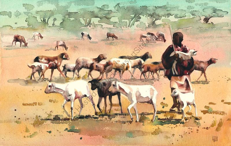 Boy herding goats
