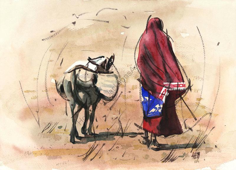 Mama and donkey