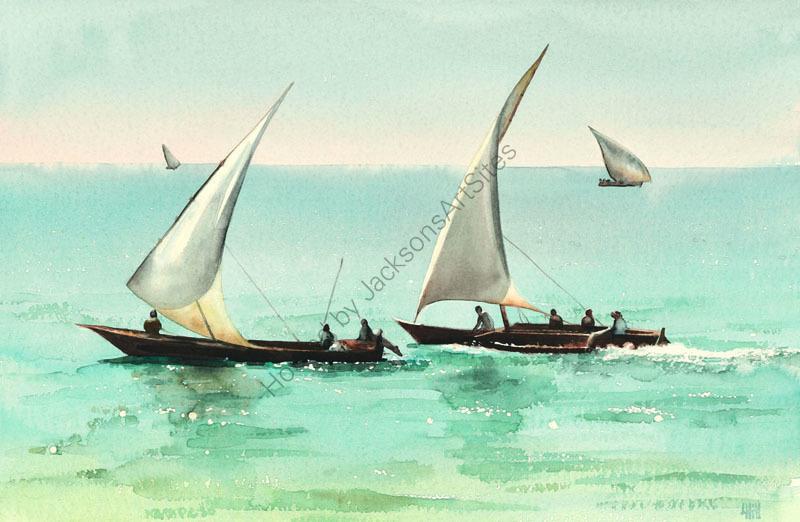 Two ngalawas sailing