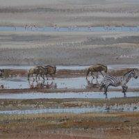 Wildebeest, Flamingoes, Zebra