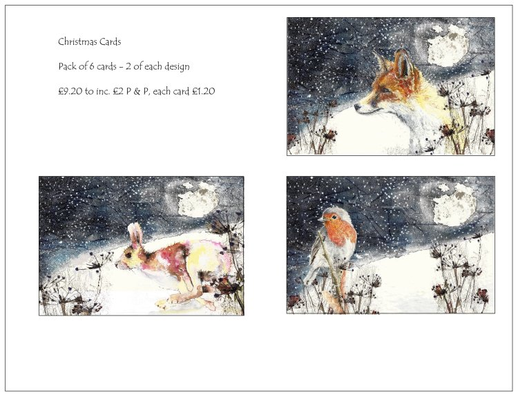 Wildlife Christmas Cards.Lou Stafford I Artist I Wildlife Christmas Cards Pack