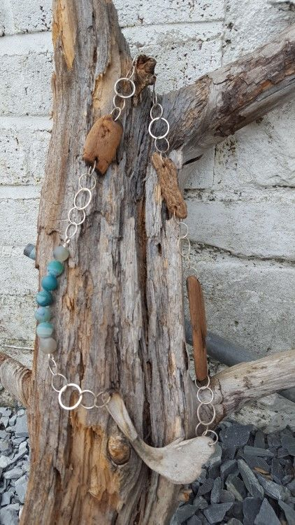 Rock pool Necklace, driftwood, forged silver and turquoise agate.