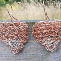 Large Copper & Silver  Heart Earrings