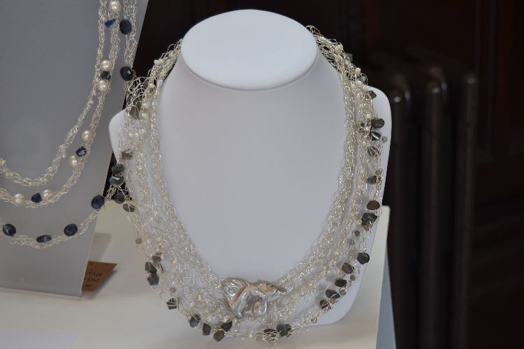White Horses Silver, Fresh Water Pearl and twisted Labradorite Necklace at DDTV Summer Show, 2015