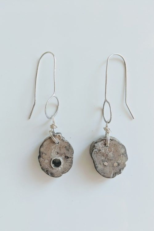 Driftwood and Silver on Hand Forged Ear Wires