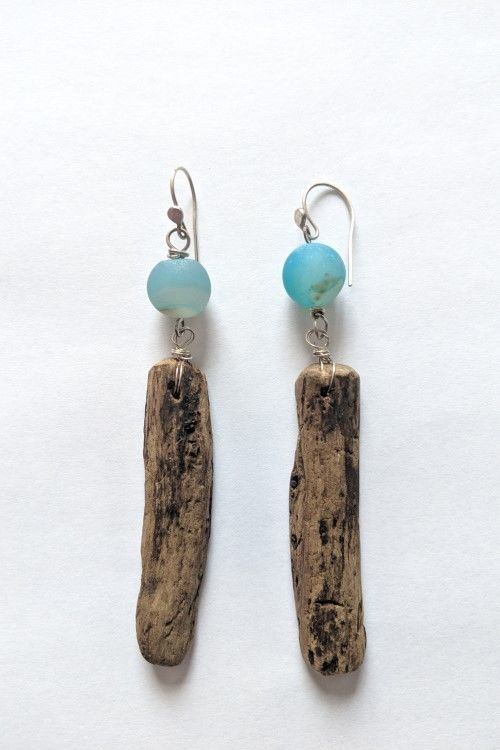 Driftwood_and Turquoise_Agate_Earrings