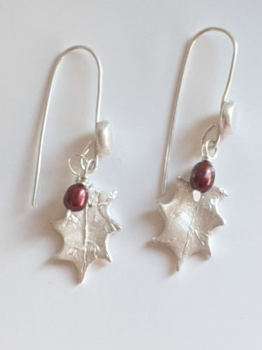 Sterling Silver Triple Holly Leaf Berries Charm