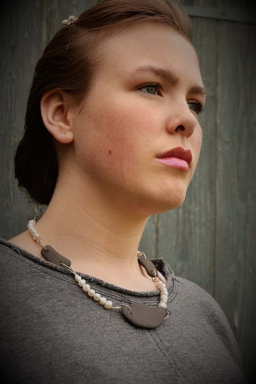 Ashling wearing Slate and Pearl Necklace