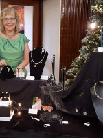 Modelling my multi-strand necklace at Retro Christmas Fair