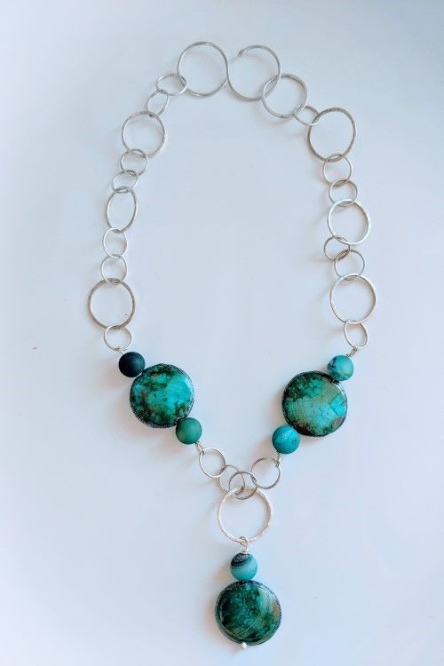 Turquoise Dragon Veined Agate with Forged Sterling Silver Links