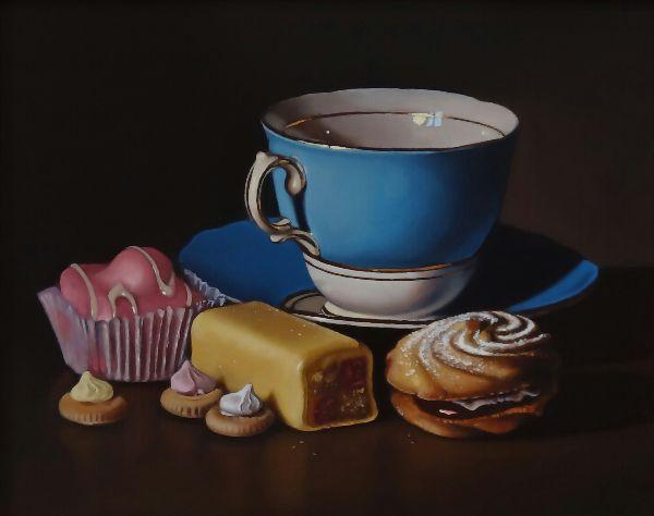 blue teacup with mr kipling cakes (sold)