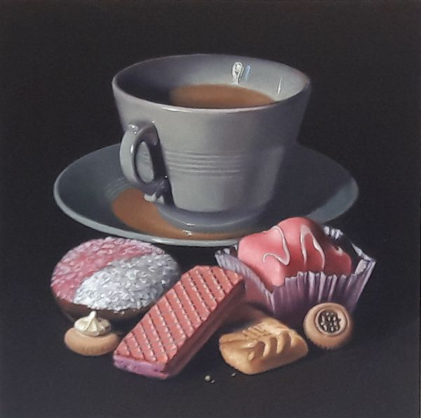tea and biscuits with fondant fancy (sold)