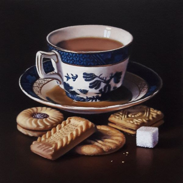 old willow teacup and biscuits (sold)